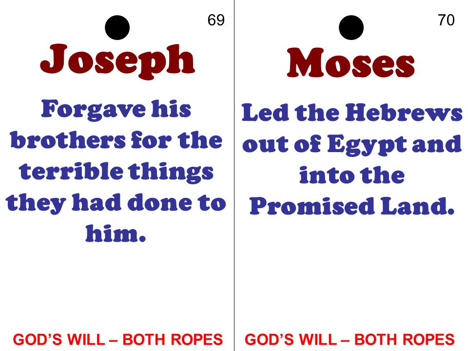 Joseph Forgave his brothers for the terrible things they had done to him. Moses Led the Hebrews out of Egypt and into the Promised Land. 6970 GODS WIL