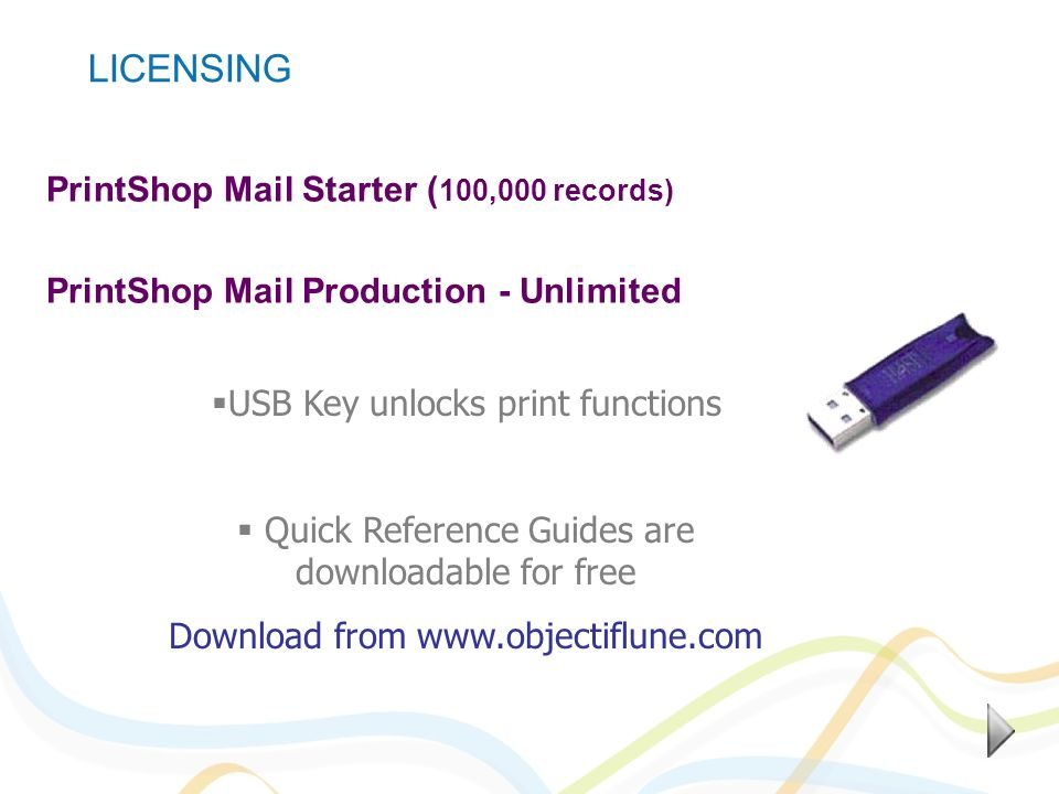 PrintShop Mail Starter ( 100,000 records) PrintShop Mail Production - Unlimited USB Key unlocks print functions Quick Reference Guides are downloadabl