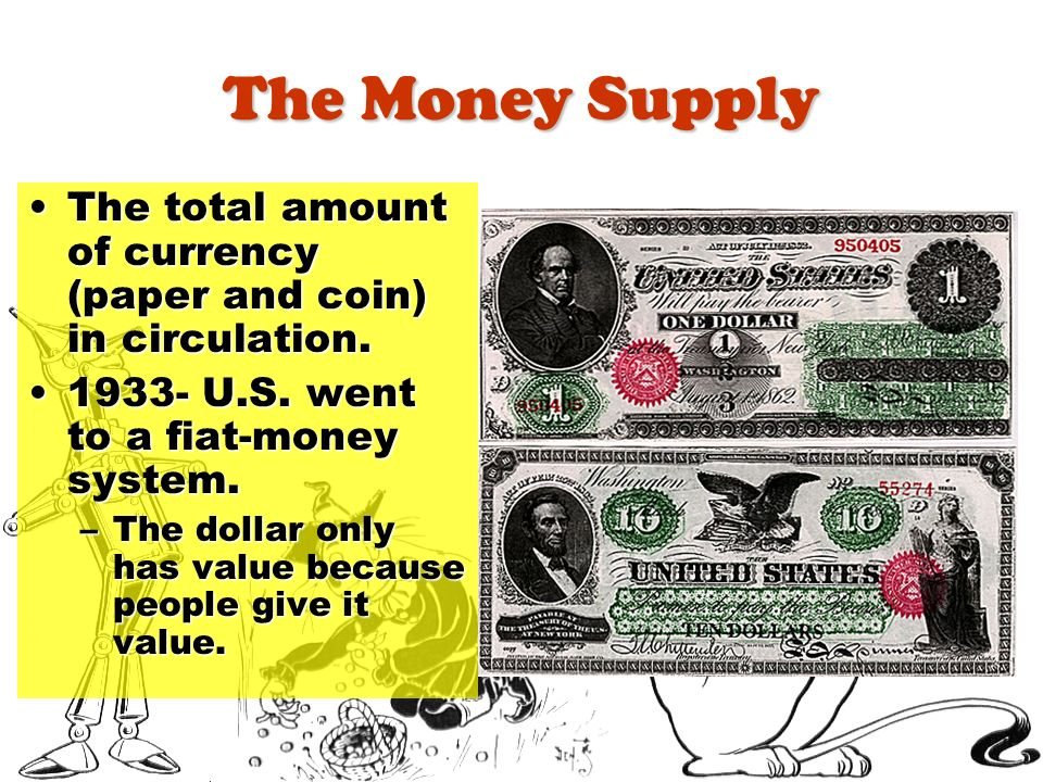 The Money Supply The total amount of currency (paper and coin) in circulation.The total amount of currency (paper and coin) in circulation. 1933- U.S.