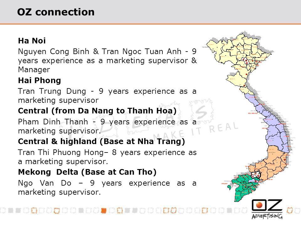 OZ connection Ha Noi Nguyen Cong Binh & Tran Ngoc Tuan Anh - 9 years experience as a marketing supervisor & Manager Hai Phong Tran Trung Dung - 9 years experience as a marketing supervisor Central (from Da Nang to Thanh Hoa) Pham Dinh Thanh - 9 years experience as a marketing supervisor.