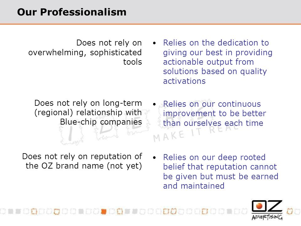 Our Professionalism Does not rely on overwhelming, sophisticated tools Does not rely on long-term (regional) relationship with Blue-chip companies Does not rely on reputation of the OZ brand name (not yet) Relies on the dedication to giving our best in providing actionable output from solutions based on quality activations Relies on our continuous improvement to be better than ourselves each time Relies on our deep rooted belief that reputation cannot be given but must be earned and maintained