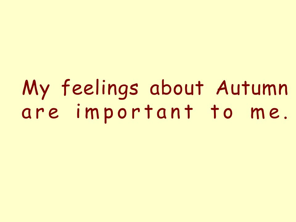 My feelings about Autumn are important to me.