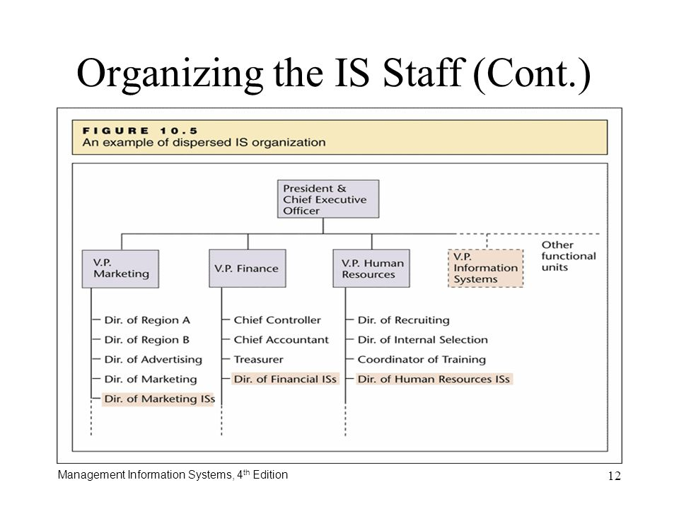Management Information Systems, 4 th Edition 12 Organizing the IS Staff (Cont.)