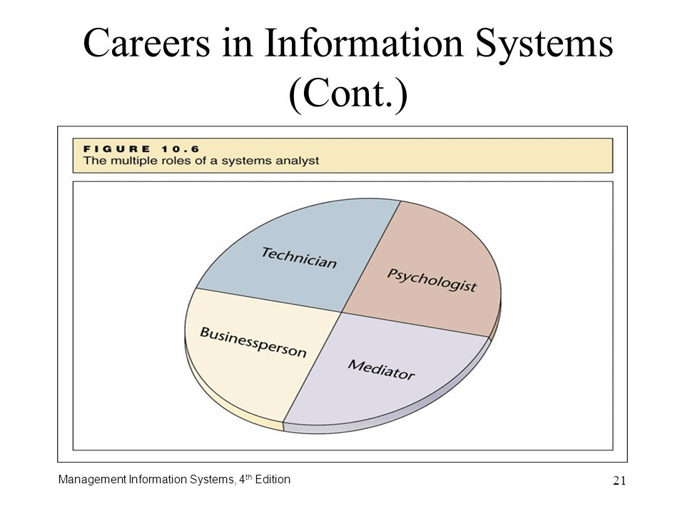 Management Information Systems, 4 th Edition 21 Careers in Information Systems (Cont.)