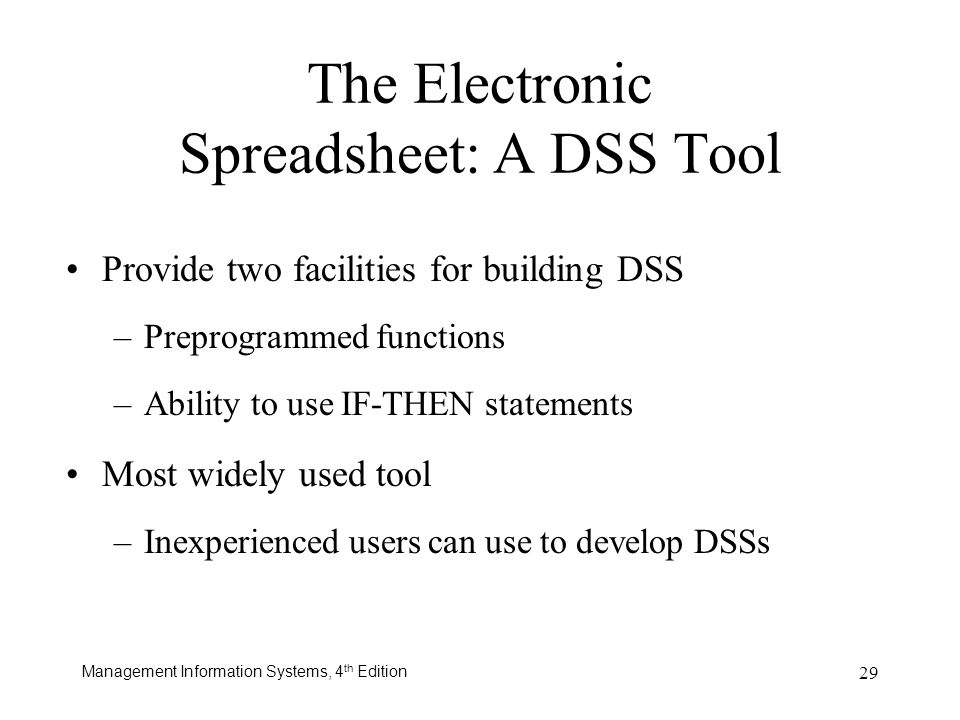 Management Information Systems, 4 th Edition 29 The Electronic Spreadsheet: A DSS Tool Provide two facilities for building DSS –Preprogrammed function