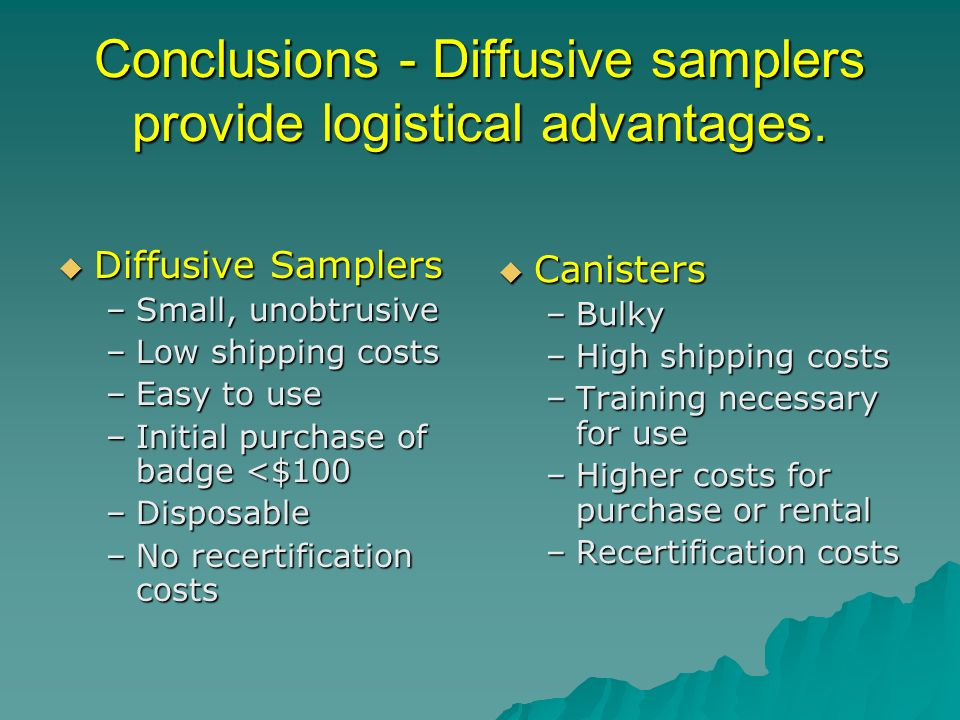 Conclusions - Diffusive samplers provide logistical advantages. Diffusive Samplers Diffusive Samplers –Small, unobtrusive –Low shipping costs –Easy to