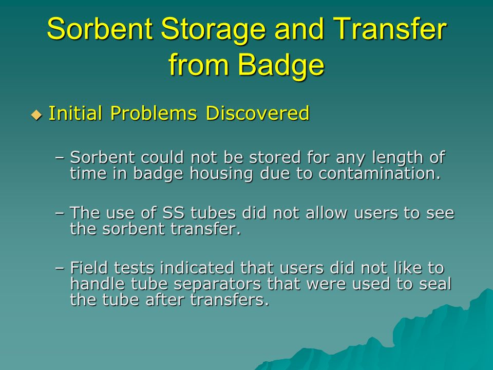 Sorbent Storage and Transfer from Badge Initial Problems Discovered Initial Problems Discovered –Sorbent could not be stored for any length of time in