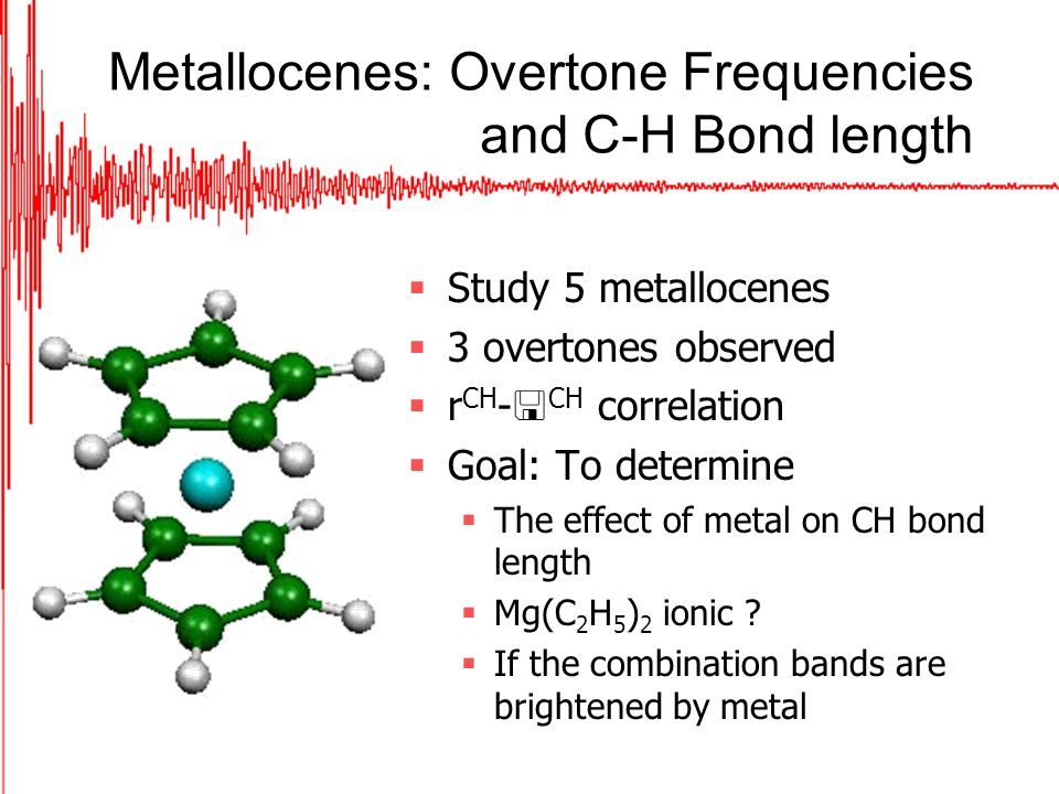 Metallocenes: Overtone Frequencies and C-H Bond length Study 5 metallocenes 3 overtones observed r CH - CH correlation Goal: To determine The effect of metal on CH bond length Mg(C 2 H 5 ) 2 ionic .