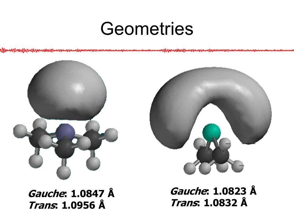 Geometries Gauche: 1.0847 Å Trans: 1.0956 Å Gauche: 1.0823 Å Trans: 1.0832 Å