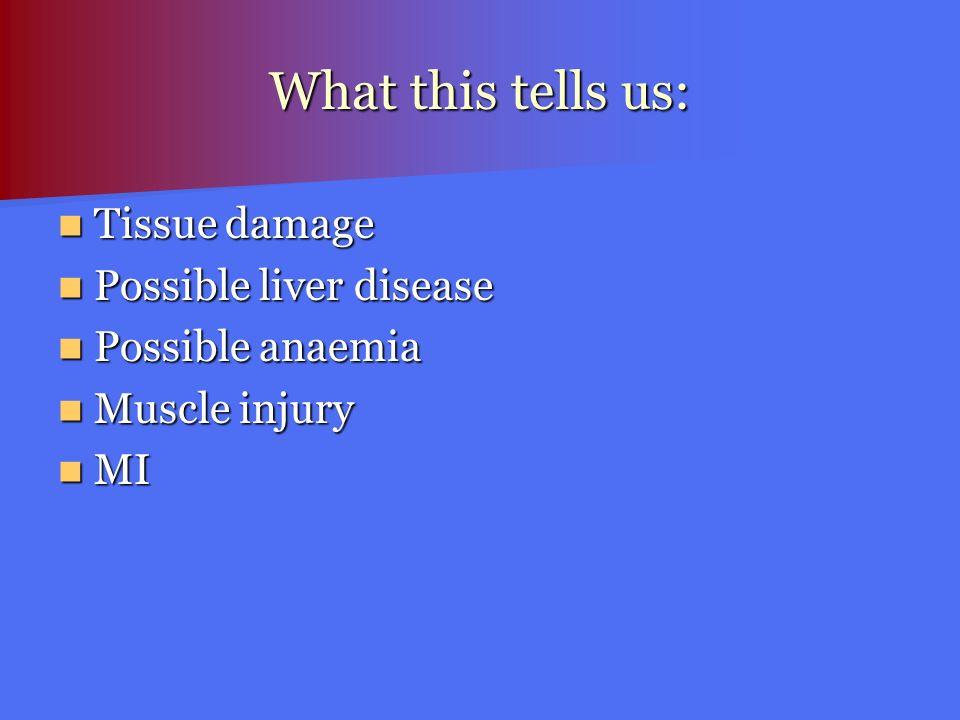 What this tells us: Tissue damage Tissue damage Possible liver disease Possible liver disease Possible anaemia Possible anaemia Muscle injury Muscle i