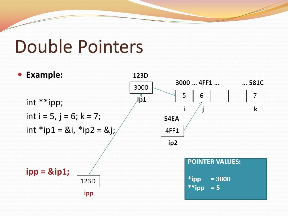 Double Pointers Example: int **ipp; int i = 5, j = 6; k = 7; int *ip1 = &i, *ip2 = &j; ipp = &ip1; 756 i j k 3000 … 4FF1 … … 581C 123D ipp 3000 ip1 12