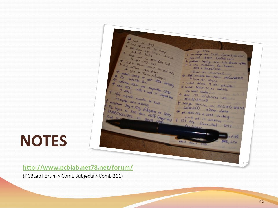 NOTES 45 http://www.pcblab.net78.net/forum/ (PCBLab Forum > ComE Subjects > ComE 211)