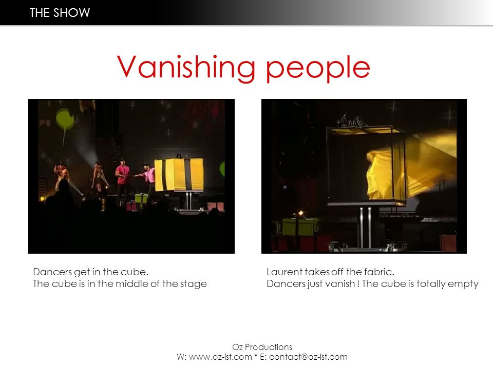 Vanishing people Oz Productions W: www.oz-ist.com * E: contact@oz-ist.com Dancers get in the cube.