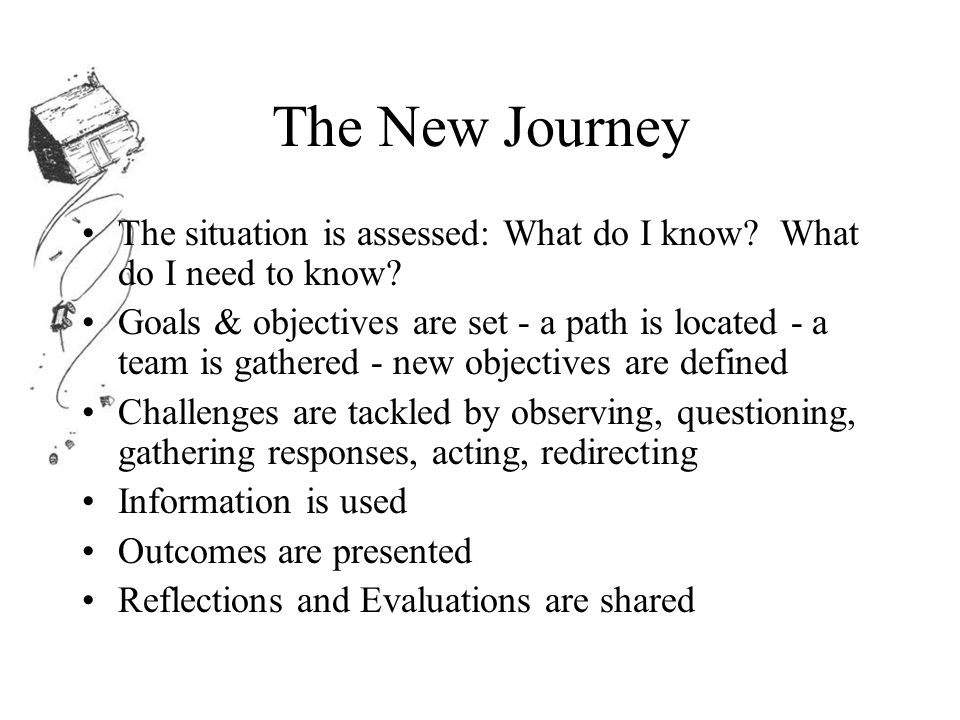 The New Journey The situation is assessed: What do I know.