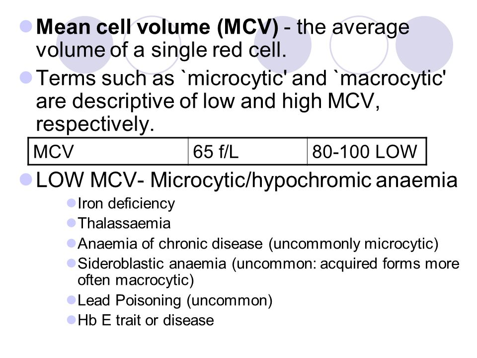 Mean cell volume (MCV) - the average volume of a single red cell. Terms such as `microcytic' and `macrocytic' are descriptive of low and high MCV, res
