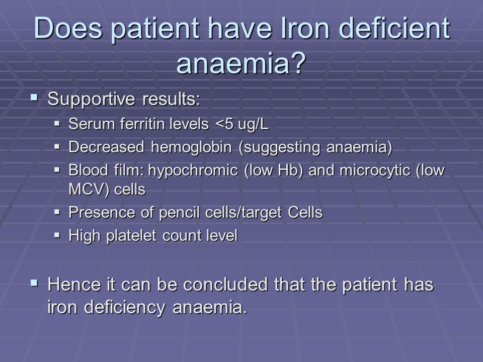 Does patient have Iron deficient anaemia? Supportive results: Supportive results: Serum ferritin levels <5 ug/L Serum ferritin levels <5 ug/L Decrease