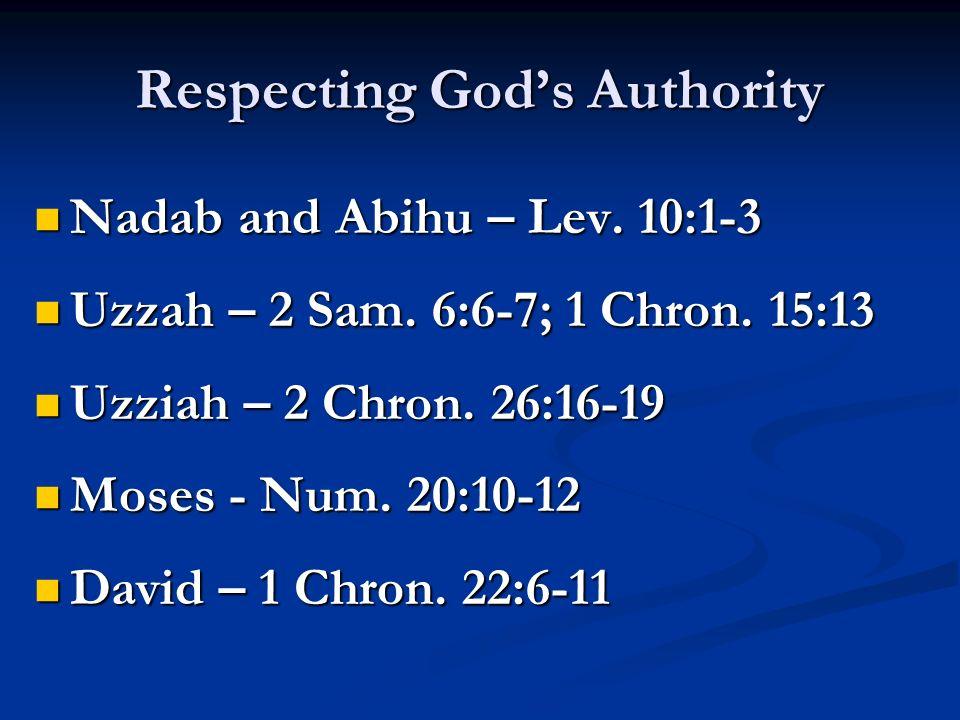 Respecting Gods Authority Nadab and Abihu – Lev. 10:1-3 Nadab and Abihu – Lev.