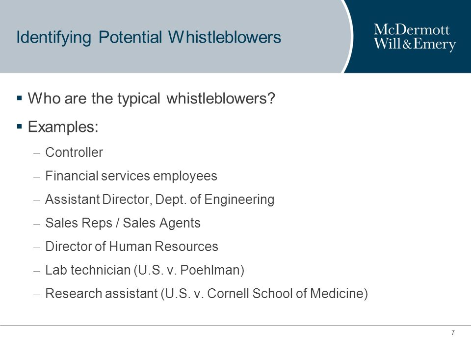 6 Protecting You and Your Organization Against Whistleblowers Hiring Internal Policies to Deter Whistleblowers Termination Facing Government Actions