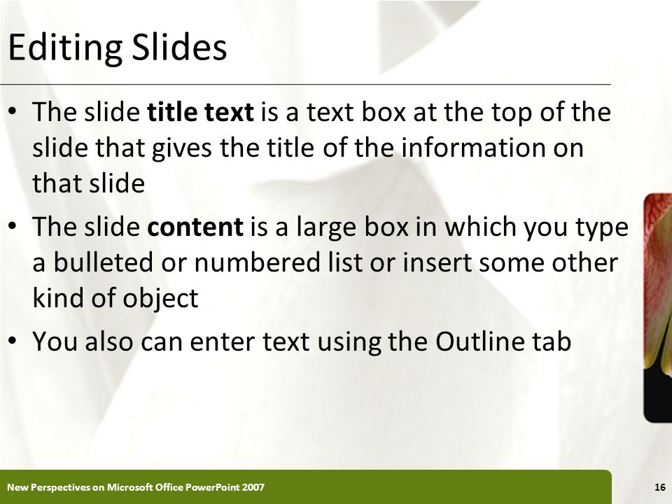 XP Editing Slides The slide title text is a text box at the top of the slide that gives the title of the information on that slide The slide content i