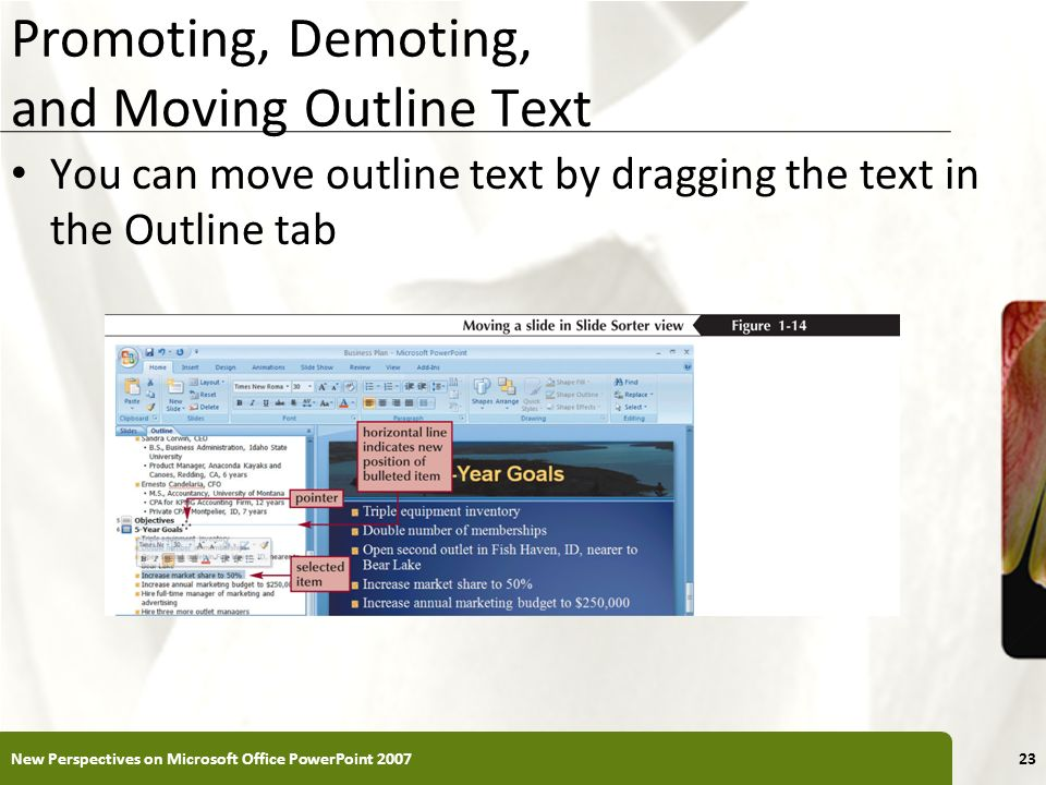 XP Promoting, Demoting, and Moving Outline Text You can move outline text by dragging the text in the Outline tab New Perspectives on Microsoft Office