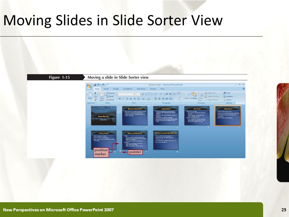 XP Moving Slides in Slide Sorter View New Perspectives on Microsoft Office PowerPoint 200725