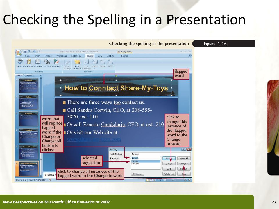 XP Checking the Spelling in a Presentation New Perspectives on Microsoft Office PowerPoint 200727