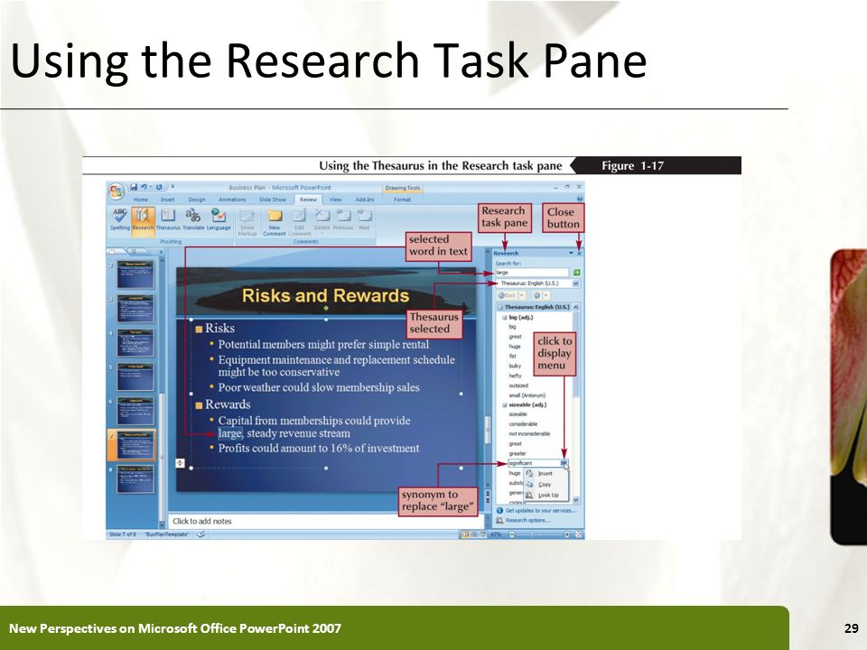 XP Using the Research Task Pane New Perspectives on Microsoft Office PowerPoint 200729