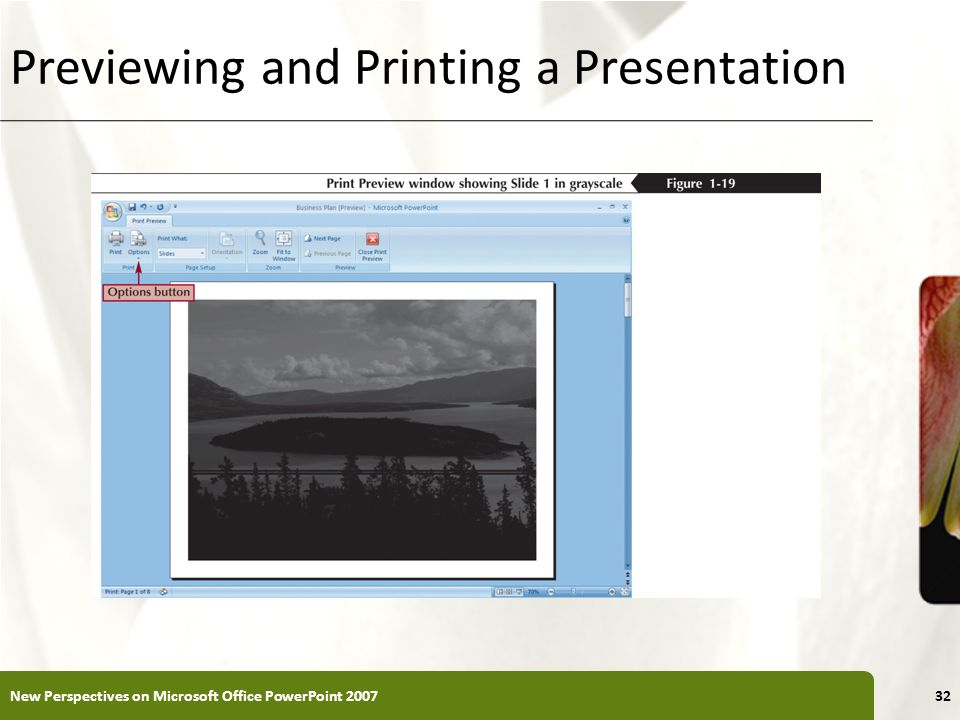 XP Previewing and Printing a Presentation New Perspectives on Microsoft Office PowerPoint 200732