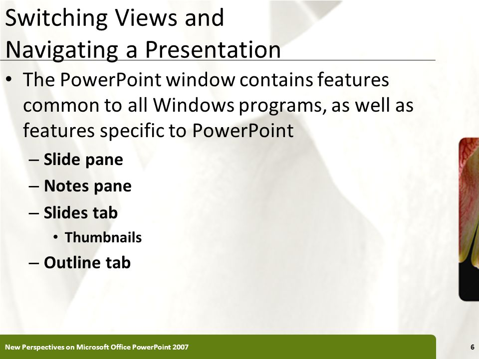 XP Switching Views and Navigating a Presentation The PowerPoint window contains features common to all Windows programs, as well as features specific