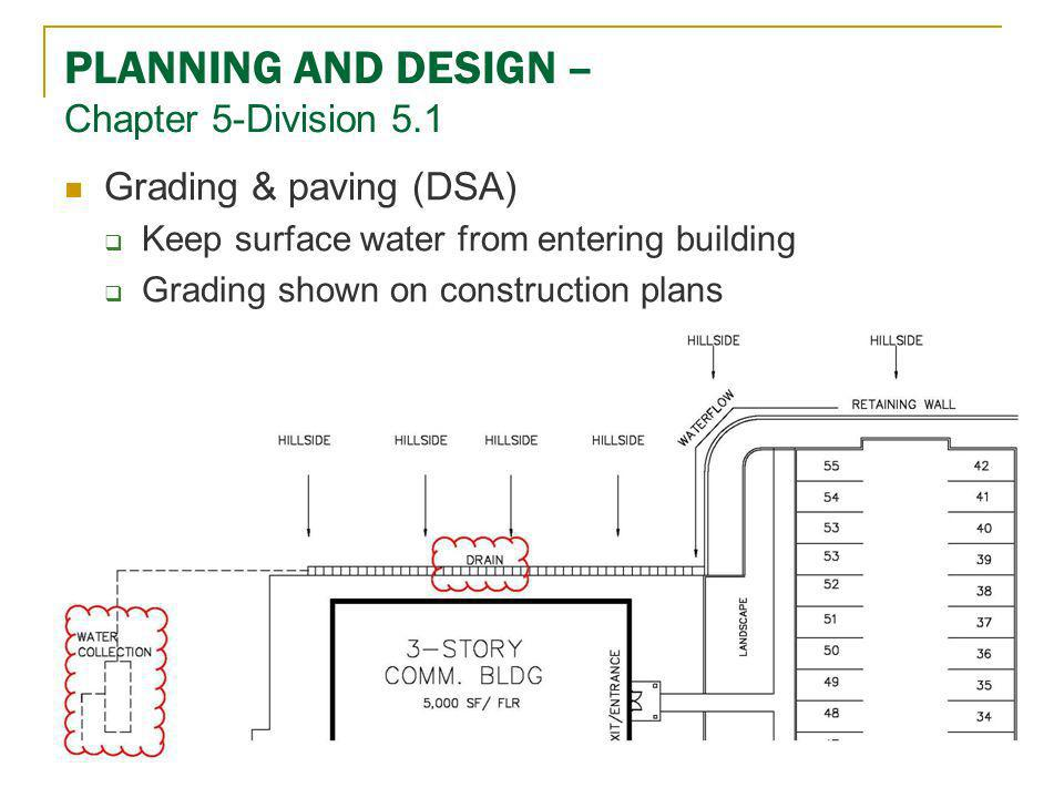 PLANNING AND DESIGN – Chapter 5-Division 5.1 Grading & paving (DSA) Keep surface water from entering building Grading shown on construction plans