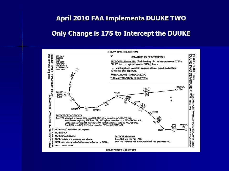 April 2010 FAA Implements DUUKE TWO Only Change is 175 to Intercept the DUUKE