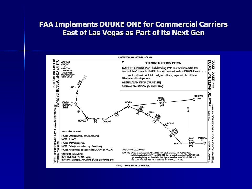 FAA Implements DUUKE ONE for Commercial Carriers East of Las Vegas as Part of its Next Gen