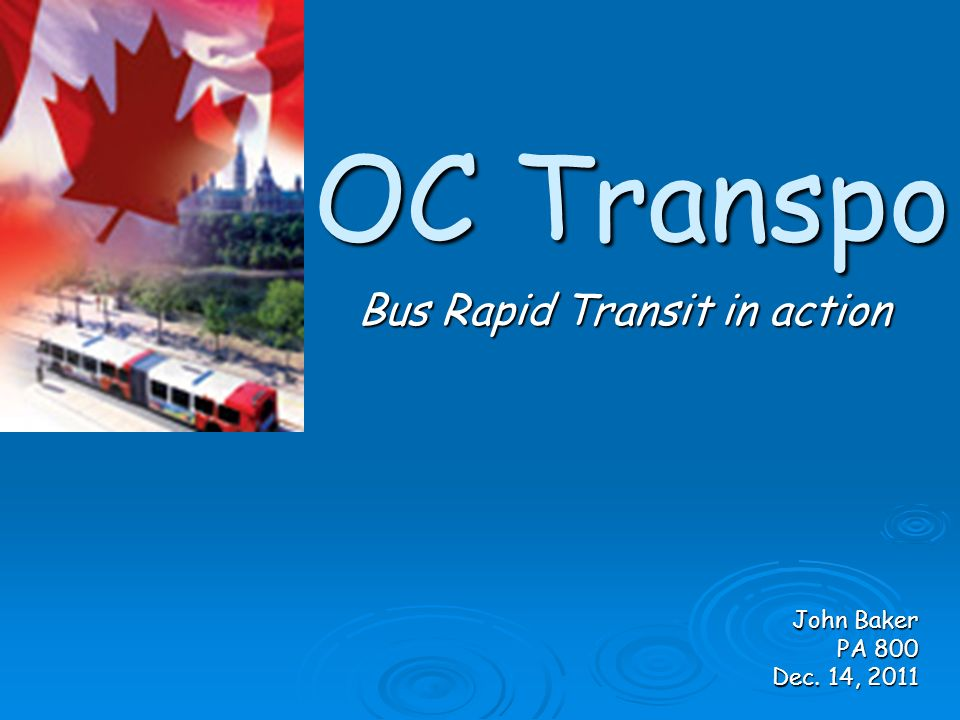 OC Transpo Bus Rapid Transit in action John Baker PA 800 Dec. 14, 2011