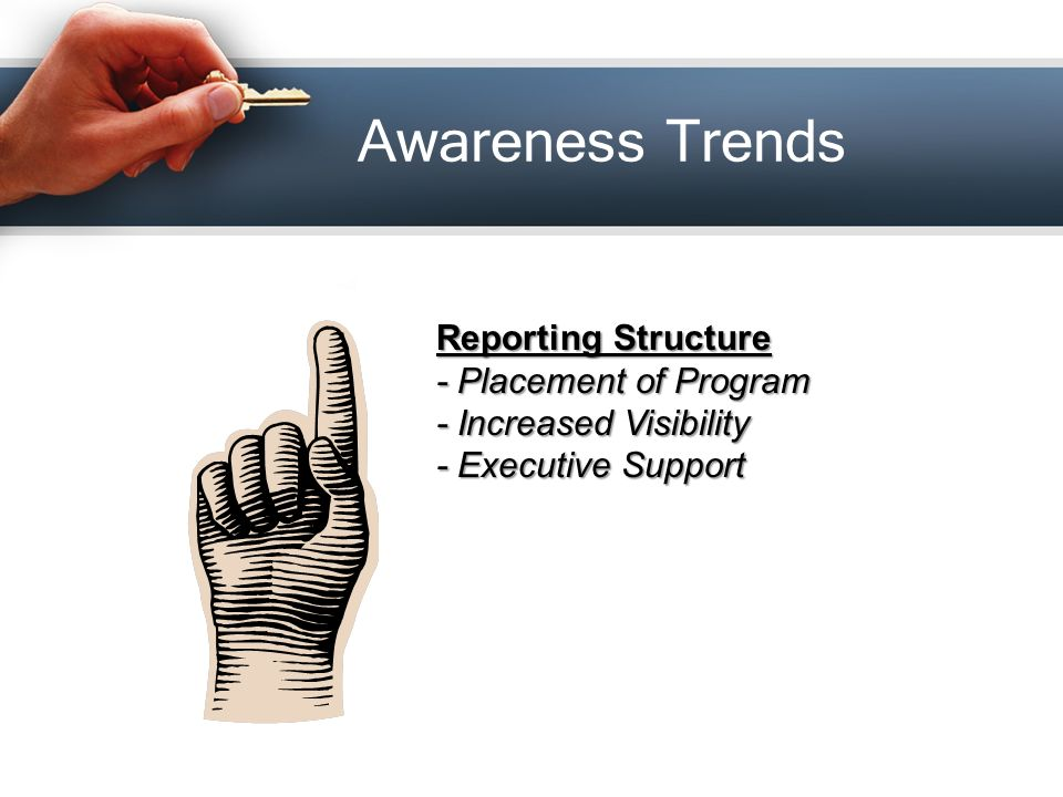 Awareness Trends Reporting Structure - Placement of Program - Increased Visibility - Executive Support