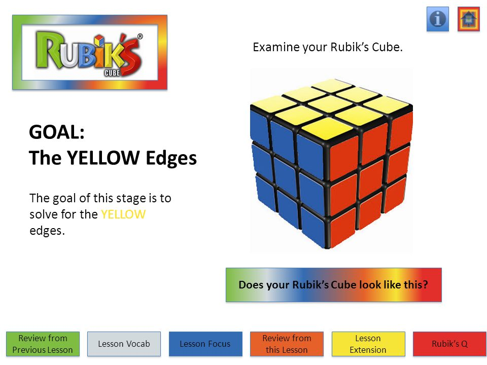 GOAL: The YELLOW Edges The goal of this stage is to solve for the YELLOW edges. Examine your Rubiks Cube. Does your Rubiks Cube look like this? Does y