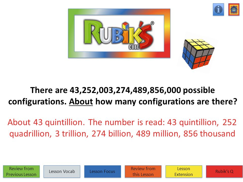 There are 43,252,003,274,489,856,000 possible configurations. About how many configurations are there? About 43 quintillion. The number is read: 43 qu