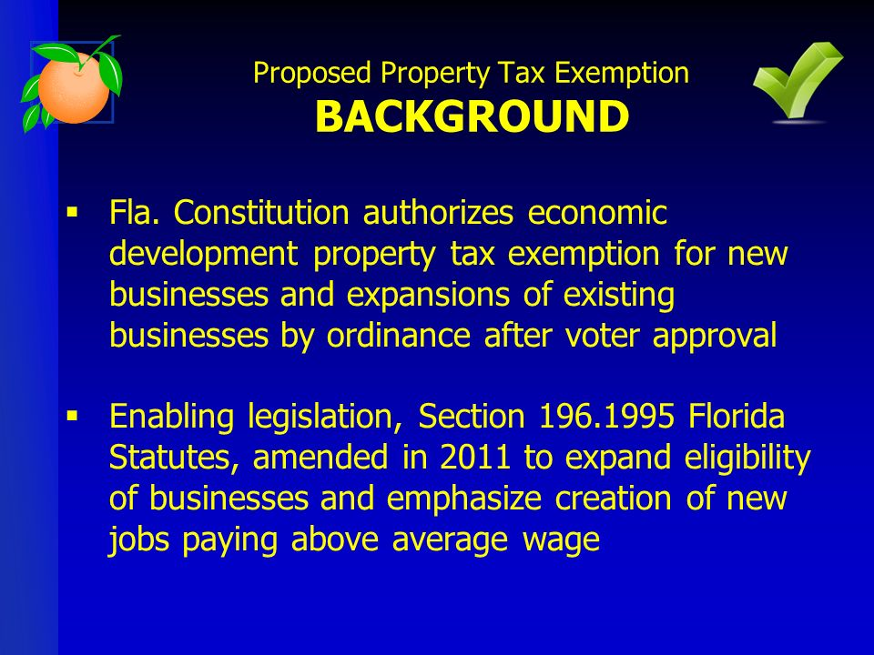 Fla. Constitution authorizes economic development property tax exemption for new businesses and expansions of existing businesses by ordinance after v