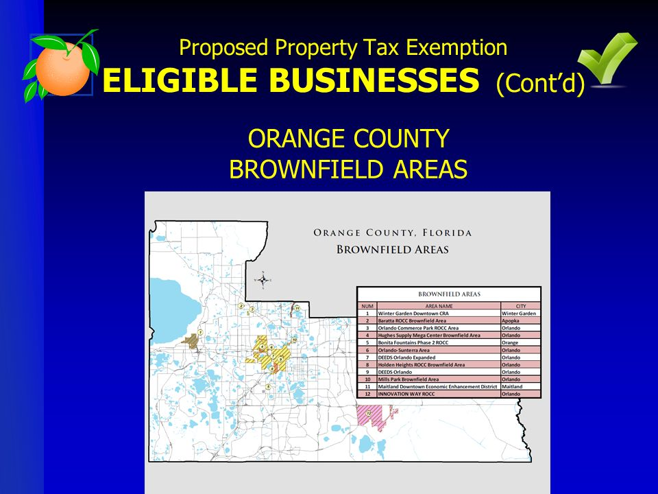 ORANGE COUNTY BROWNFIELD AREAS Proposed Property Tax Exemption ELIGIBLE BUSINESSES (Contd)