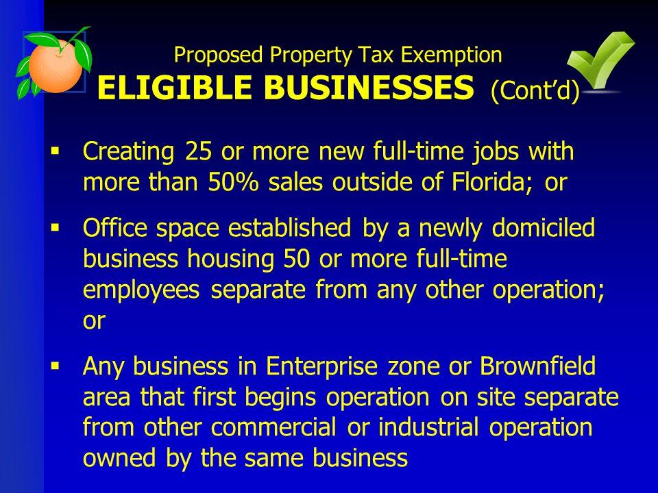 ORANGE COUNTY ENTERPRISE ZONES Proposed Property Tax Exemption ELIGIBLE BUSINESSES (Contd)