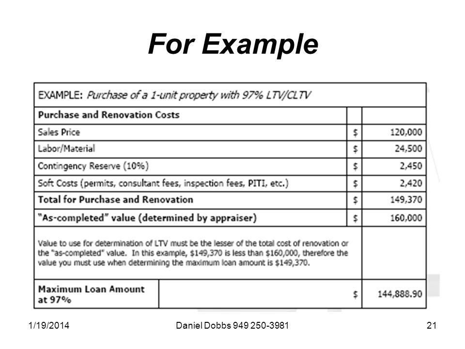 1/19/2014Daniel Dobbs 949 250-398121 For Example