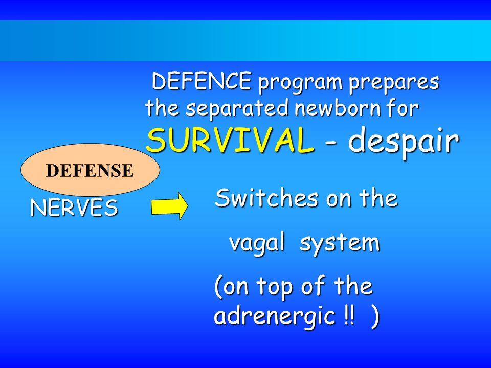 DEFENCE program prepares the separated newborn for SURVIVAL - despair DEFENCE program prepares the separated newborn for SURVIVAL - despair DEFENSE NE