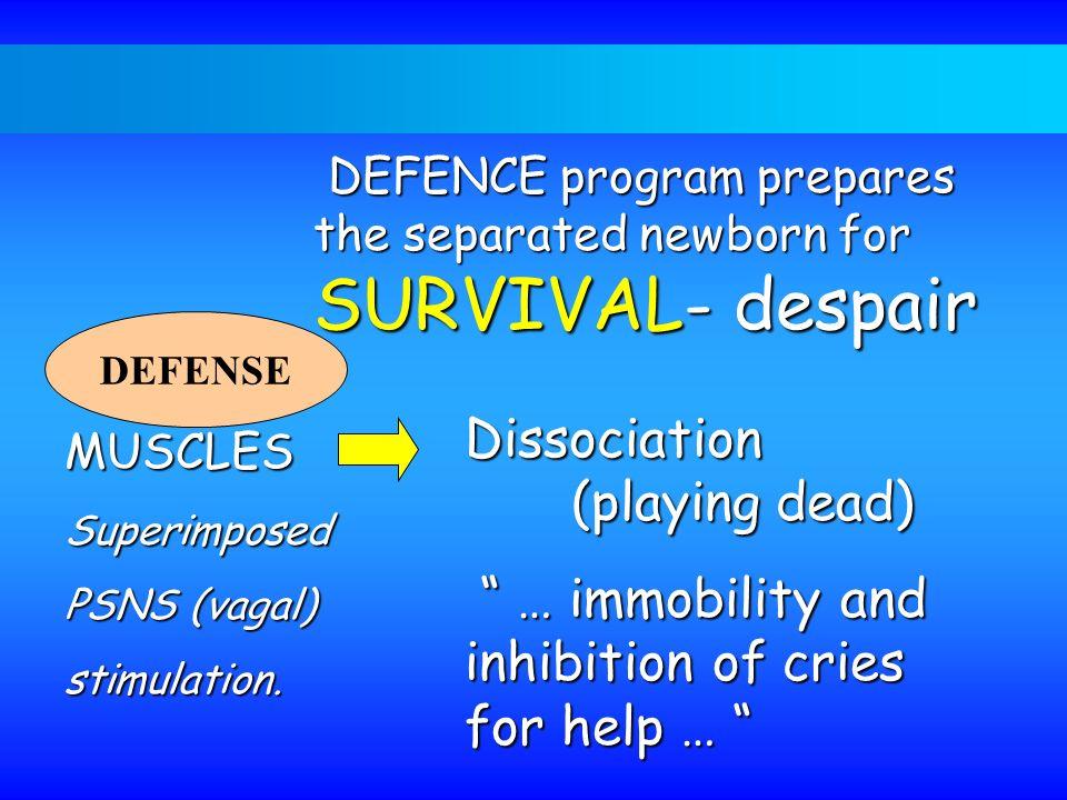 DEFENCE program prepares the separated newborn for SURVIVAL- despair DEFENCE program prepares the separated newborn for SURVIVAL- despair DEFENSE MUSC