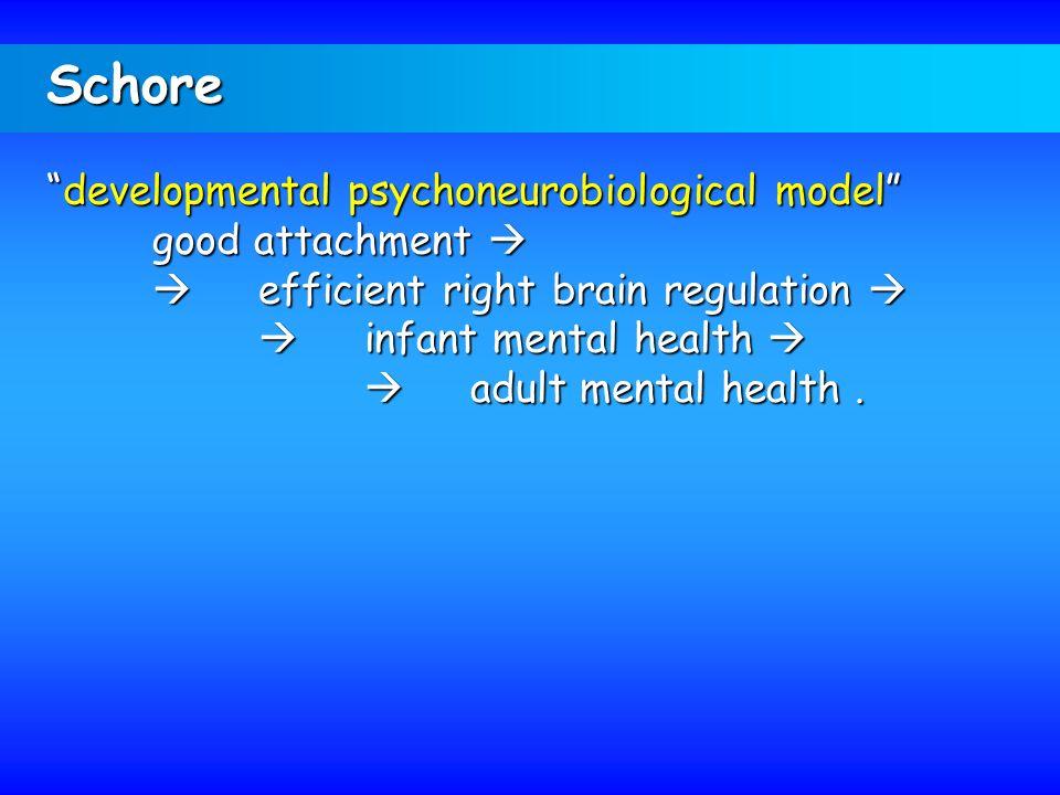 Schore developmental psychoneurobiological modeldevelopmental psychoneurobiological model good attachment good attachment efficient right brain regula