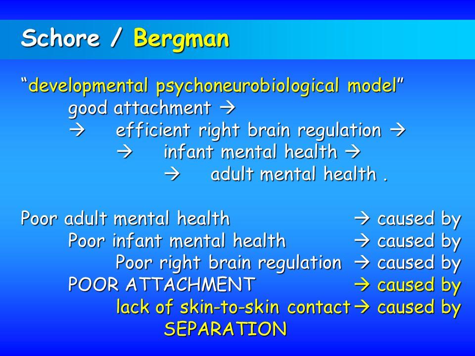 Schore / Bergman developmental psychoneurobiological modeldevelopmental psychoneurobiological model good attachment good attachment efficient right br