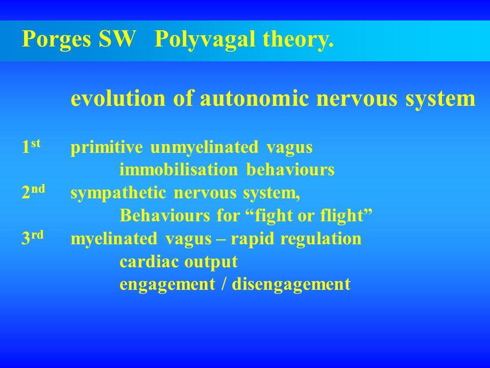 Porges SW Polyvagal theory. evolution of autonomic nervous system 1 st primitive unmyelinated vagus immobilisation behaviours 2 nd sympathetic nervous