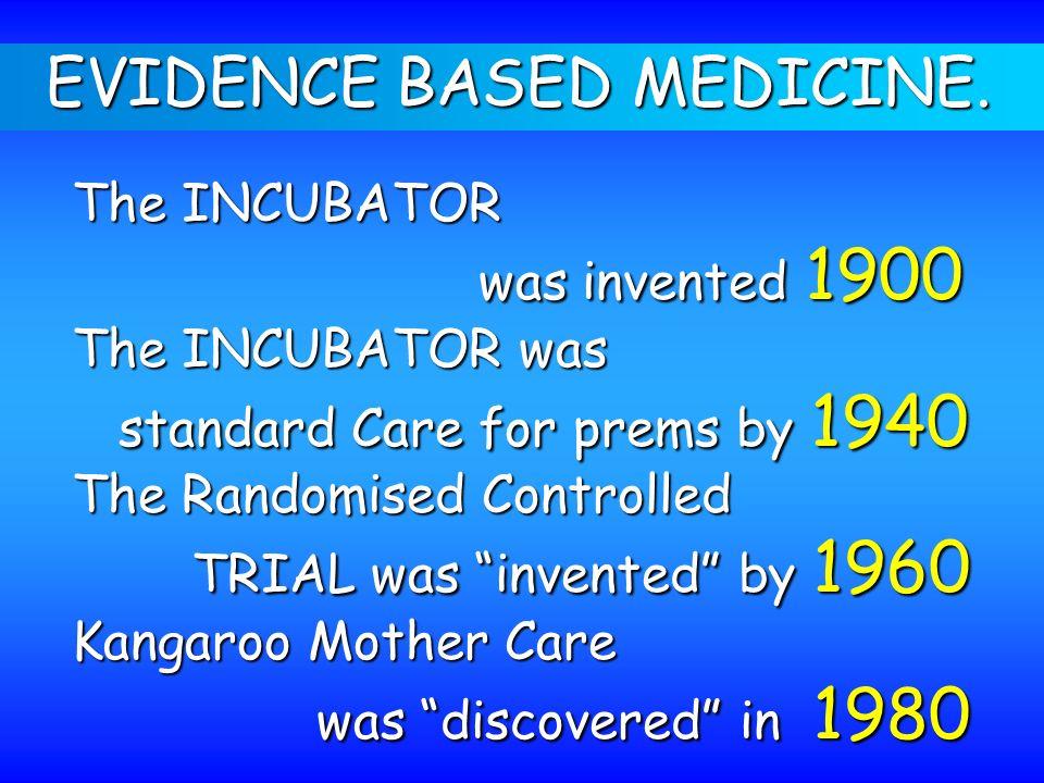 EVIDENCE BASED MEDICINE. The INCUBATOR was invented 1900 was invented 1900 The INCUBATOR was standard Care for prems by 1940 standard Care for prems b