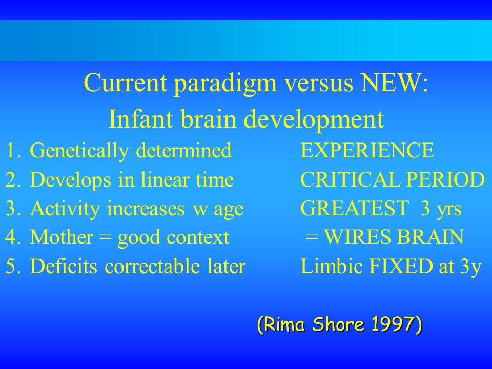 Current paradigm versus NEW: Infant brain development 1.Genetically determinedEXPERIENCE 2.Develops in linear timeCRITICAL PERIOD 3.Activity increases