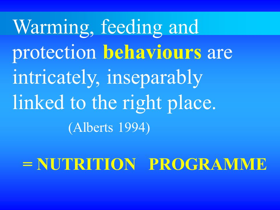 Warming, feeding and protection behaviours are intricately, inseparably linked to the right place. (Alberts 1994) = NUTRITION PROGRAMME