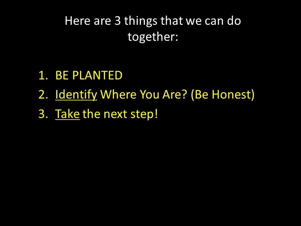 Here are 3 things that we can do together: 1.BE PLANTED 2.Identify Where You Are? (Be Honest) 3.Take the next step!