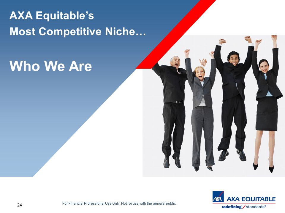 24 For Financial Professional Use Only. Not for use with the general public. AXA Equitables Most Competitive Niche… Who We Are